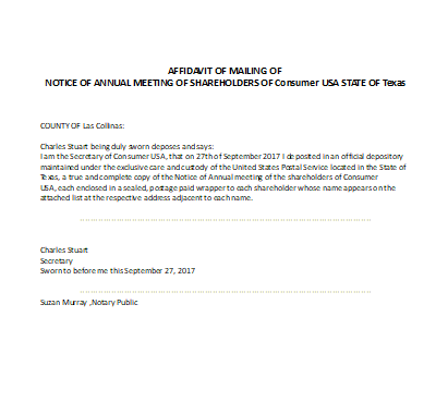 Annual Meeting Notice Form