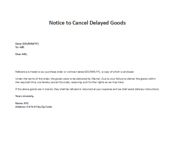 Sample Notice to Cancel Delayed Goods