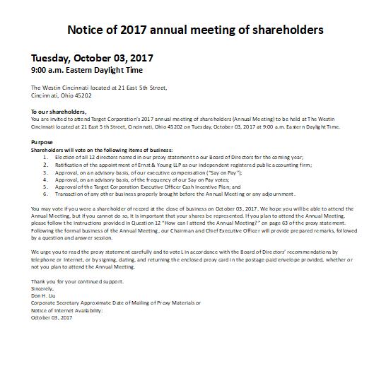 Shareholders Annual Meeting Notice Sample