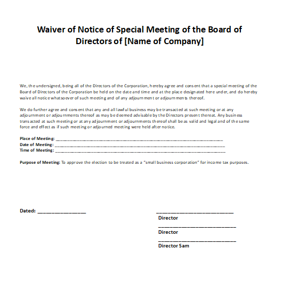 Waiver Notice of Board of Directors Meeting Sample