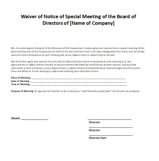 Waiver Notice of Board of Directors Meeting Sample