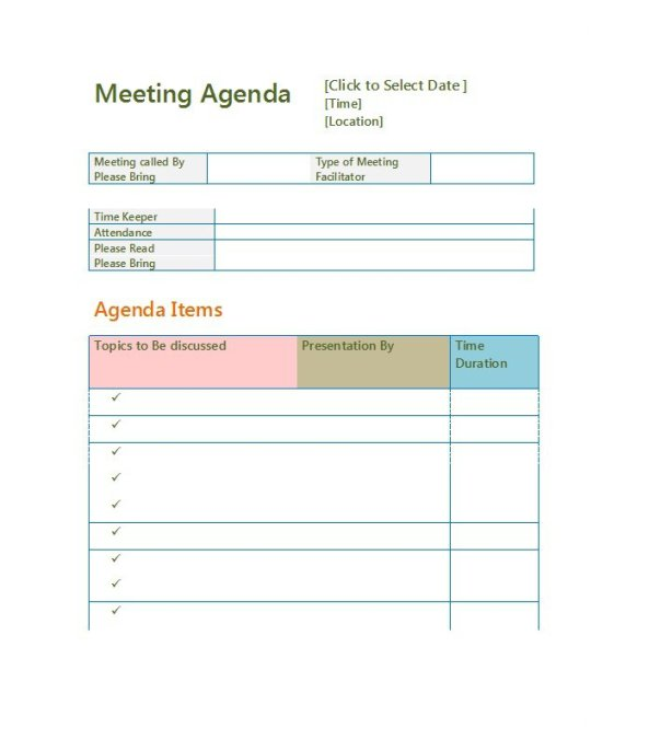Meeting Agenda Template 12