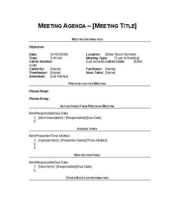 Meeting Agenda Template 16